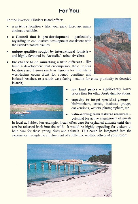 Page 1 of the Flinders Island eco opportunity
